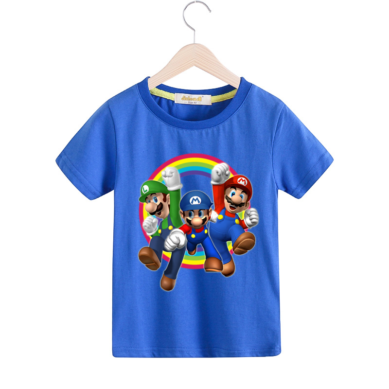 Boy 3D Mario Print T-shirts Girls Summer Short Sleeve T Shirt For Children Clothing Kids O-Neck Casual White Shirt Clothes TX049 bird printing kids short sleeve t shirts streetwear homme summer t shirt 2018 casual o neck t shirt children baby girl clothes
