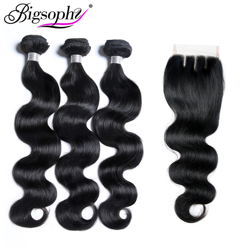 Bigsophy Hair Mongolian Weave Hair Bundles Body Wave Remy Human Hair Extension 3Bundles Hair And Closure Middle/Free/Three Part