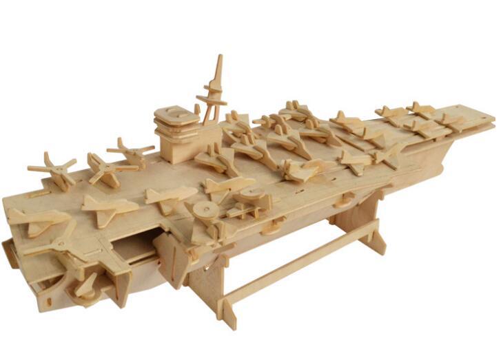 Моделирование авианосец Модель 3d трехмерные деревянные головоломки игрушки для детей Diy ручной работы деревянные пазлы