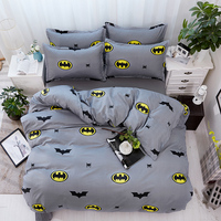 Cartoon Bedding Sets Soft Kids Duvet Cover Set Quilt cover Bed Set Single King Queen Double Bedclothes Batman gray bedclothes 25