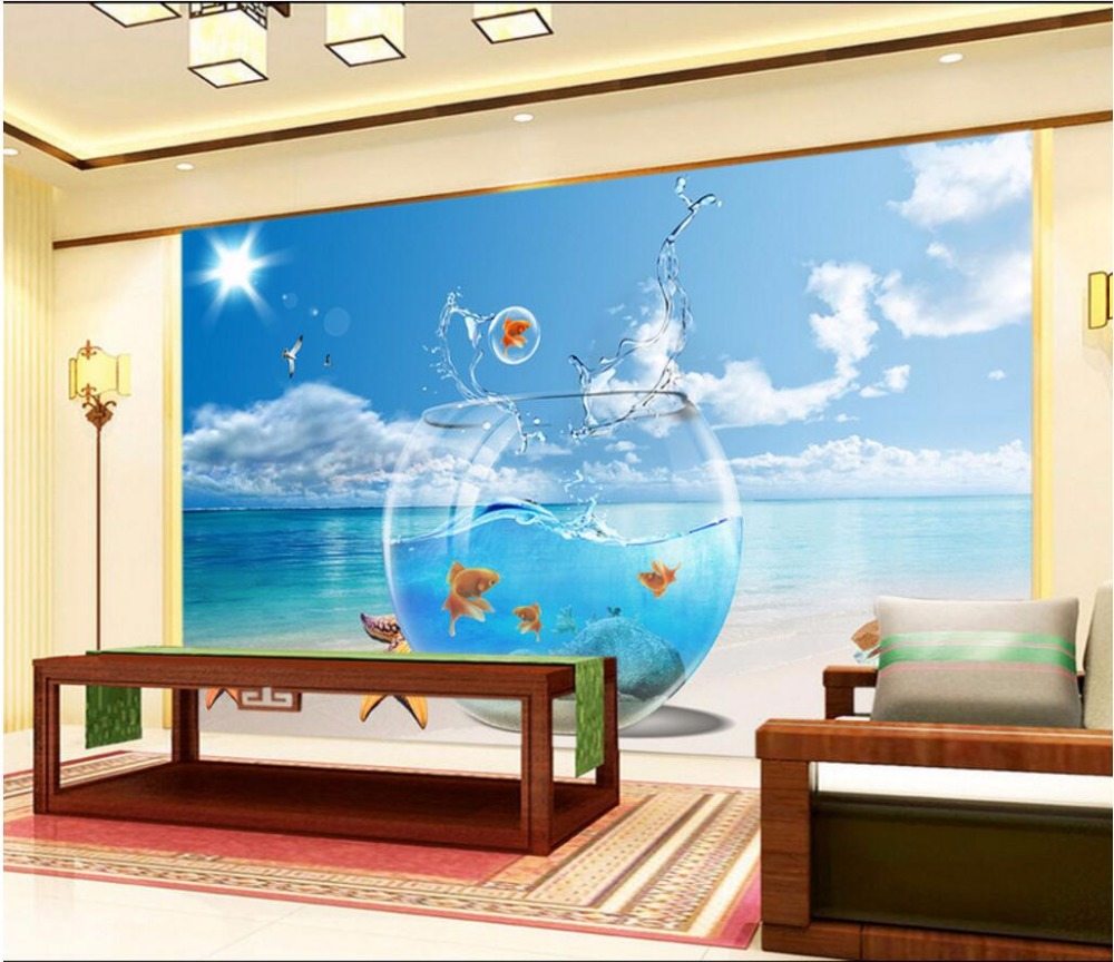 Custom mural 3d room wallpaper sea fish tank home decoration painting 3d wall murals wallpaper - Decorative fish tanks for living rooms ...
