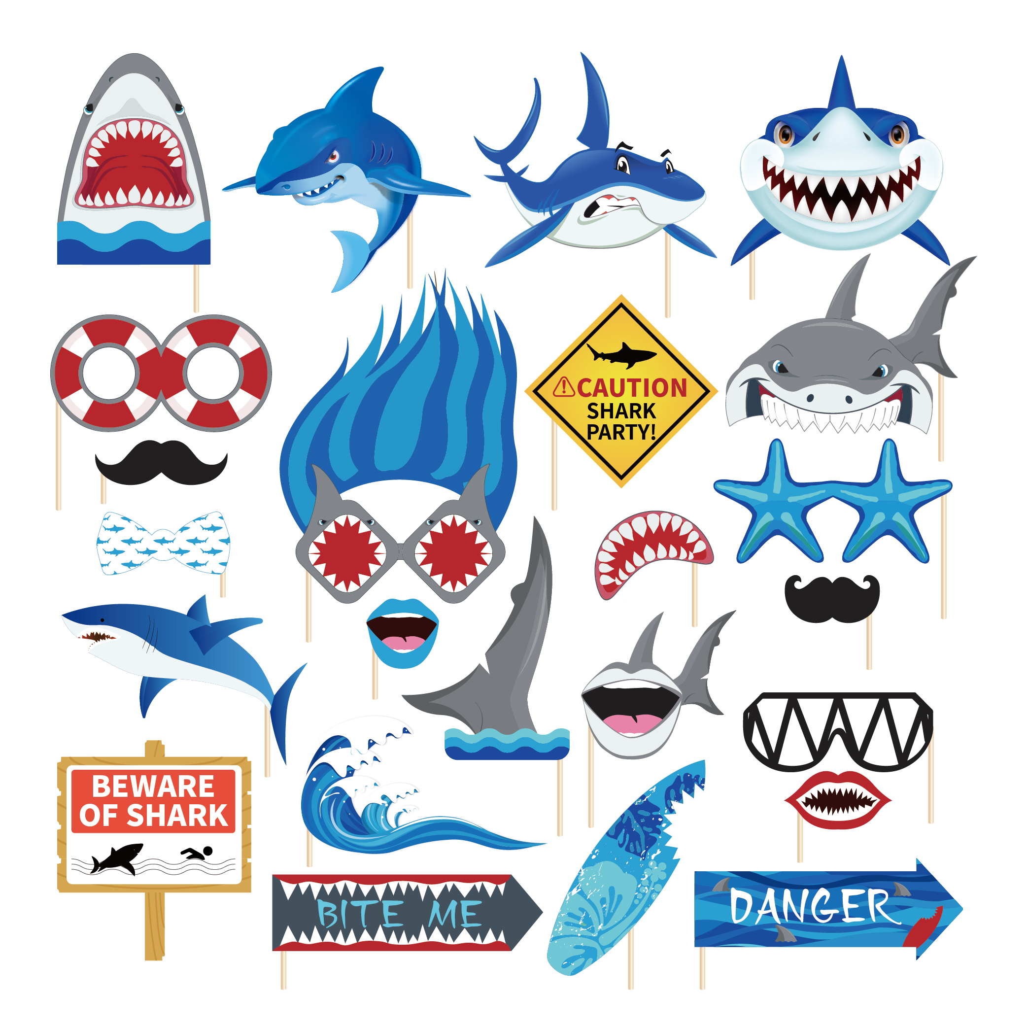 New baby cartoon shark birthday party decoration kids theme Disposable tableware