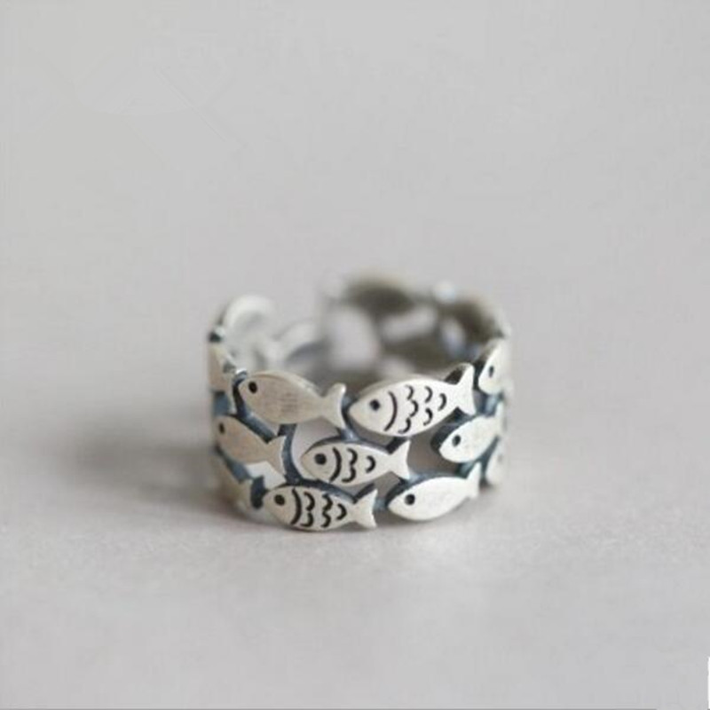 Hot New Fashion Animal 925 Sterling Silver Jewelry Cute Fish Creative Personality Retro Adjustable Rings Birthday Gift SR271