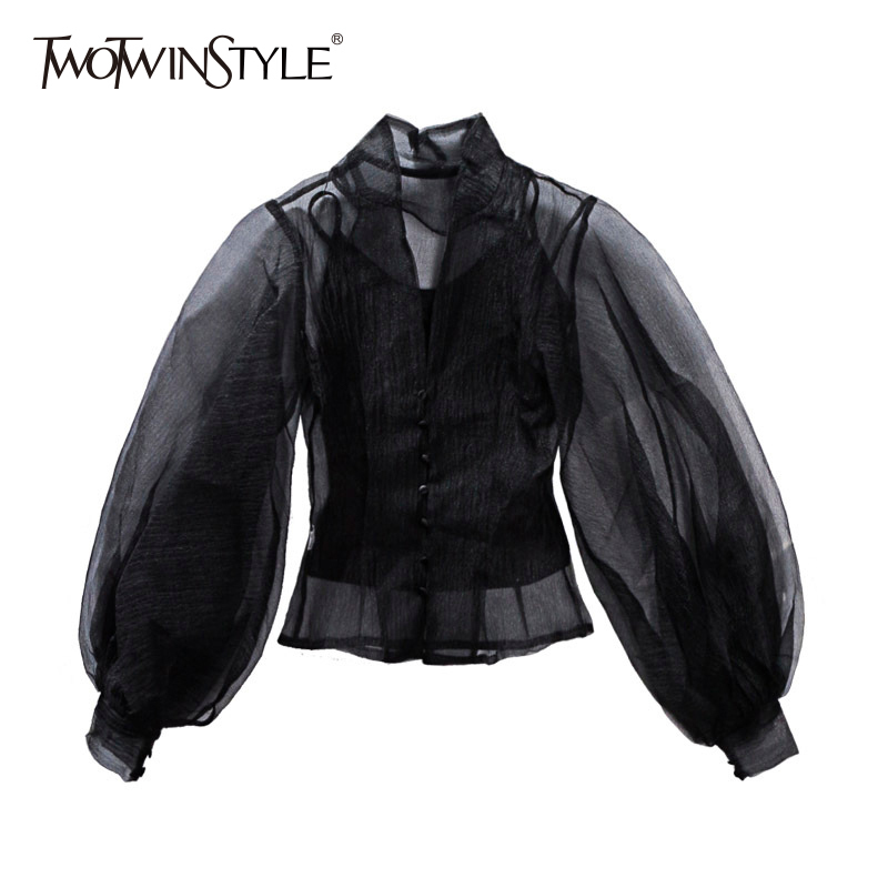 TWOTWINSTYLE Hollow Out Shirt Female Stand Collar Lantern Sleeve Tunic High Waist Shirts 2019 Spring Fashion Large Size Clothing