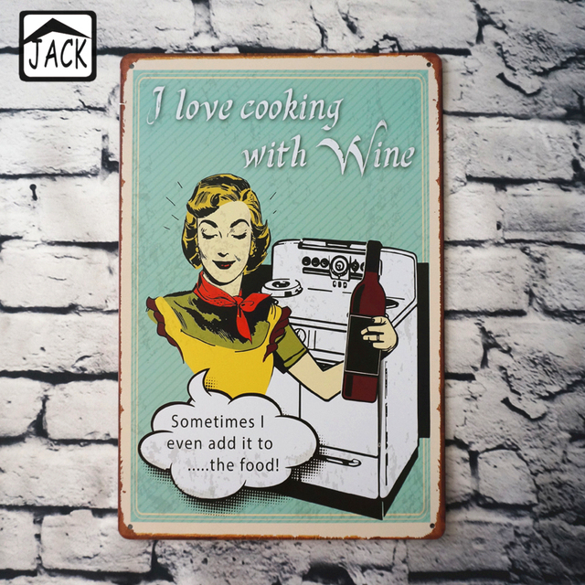 I Love Cooking With Wine Club Shop Home Wall Decor Tin Plate Poster Advertising Plaques Metal