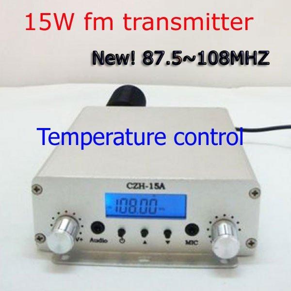 NEW! Freeshipping 15W stereo PLL best FM transmitter  FM transmiter radio broadcast station  87.5-108MHZ Silver +Power Supply
