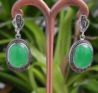 Sıcak satmak Noble-sıcak satmak yeni-yeni yeşil Doğal taş siyah Tibet gümüş gümüş kanca dangle küpe