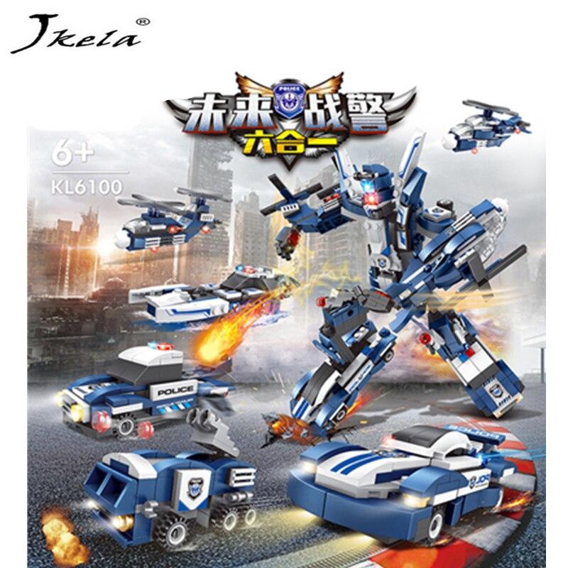 [Jkela] 6 in1 Super Hero police Deformation Transformation Robot Toy 608 Pieces Building Blocks Compatible with legoingly city