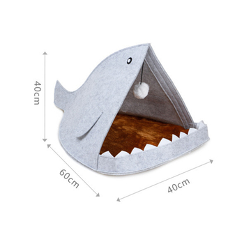 Creative Cute Pet Bed Blue Gray Shark Shape Dog Cage With Hanging Hairball All Season Breathable Cat House Pet Sleeping Supplies 5