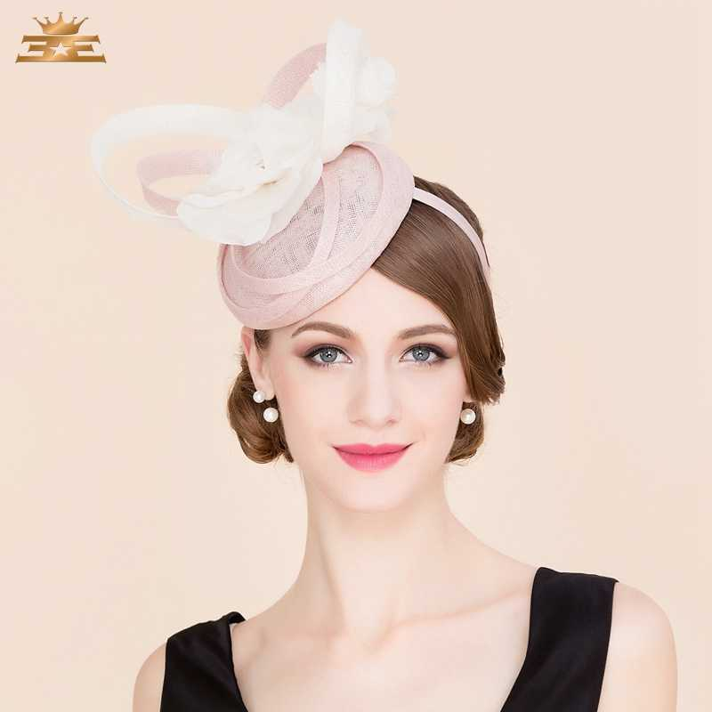 19d39b4eb06f4 Ladies Pink 100% Linen Pillbox Hat Fascinators for Women Elegant Derby  Church Fedora British Style
