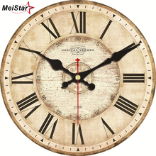 hot deal buy meistar 5 patterns vintage wall clocks roman number design silent room decoration home decor watches large wall clocks