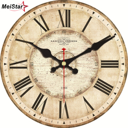 MEISTAR 5 Patterns Vintage Wall Clocks Roman Number Design Silent Room Decoration Home Decor Watches Large Wall Clocks