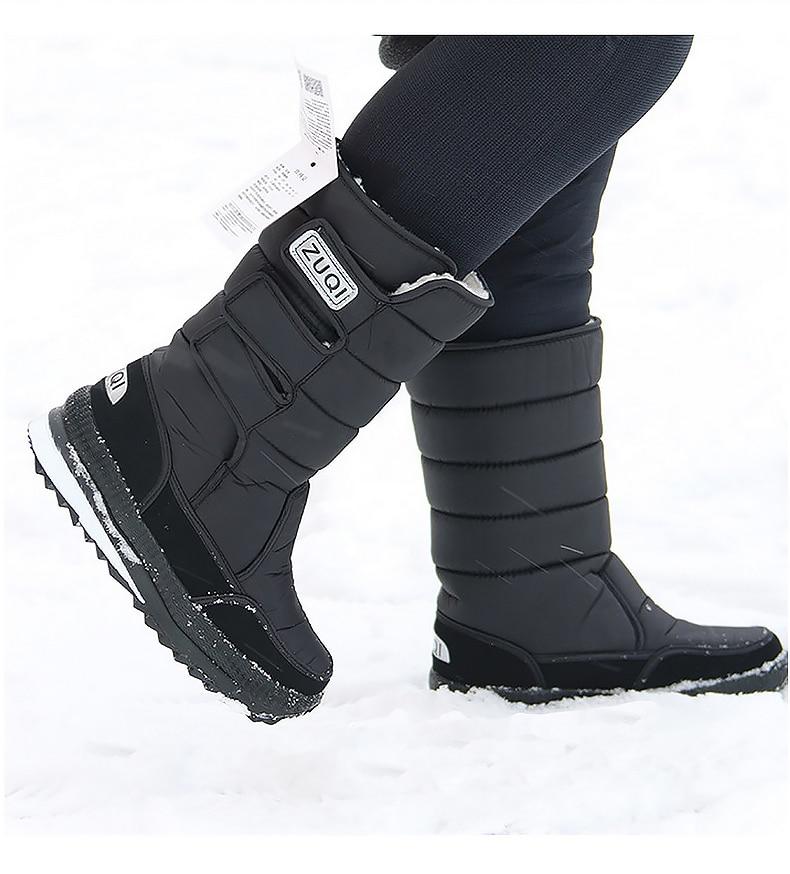 Platform Mid calf Men Snow boots Waterproof Nylon
