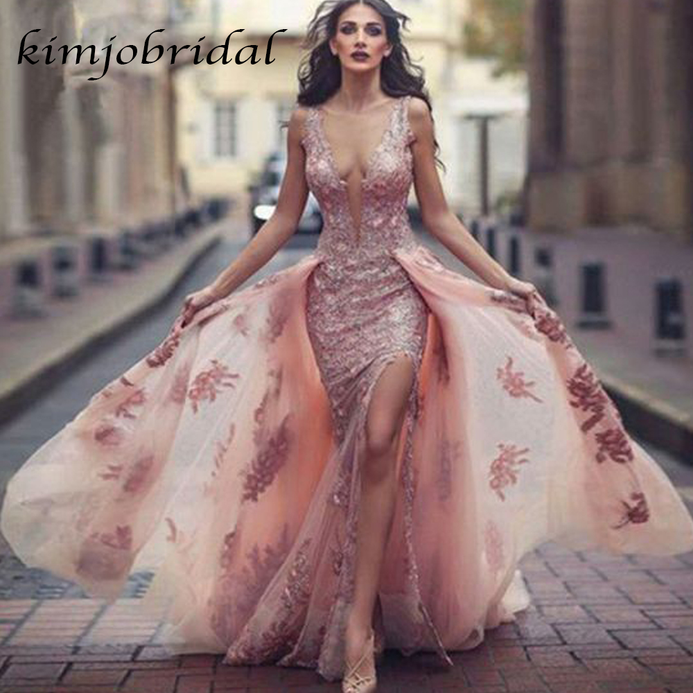 SuperKimJo blush prom dresses with detachable train deep v neck sexy backless evening dresses 2019 arabic