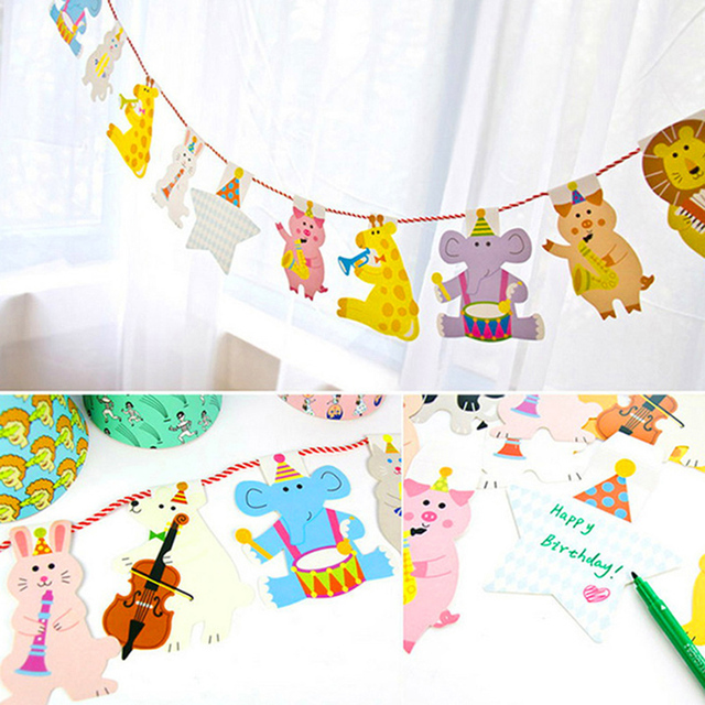 15Pcs/Pack 2M Happy Family Baby Shower Cartoon Animal Garland Striped Paper Flags Banner Decor Birthday Party Supplies For kids