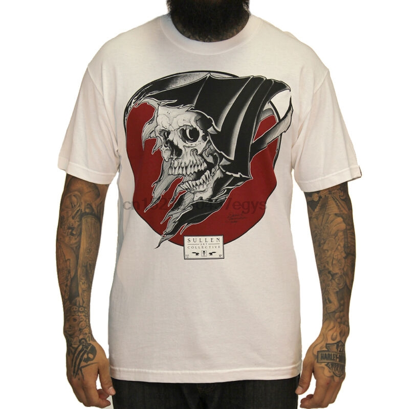T-shirts Sullen Reap Death Reaper Skull Tattoo Mens White T Shirt S-3xl Biker Goth Punk