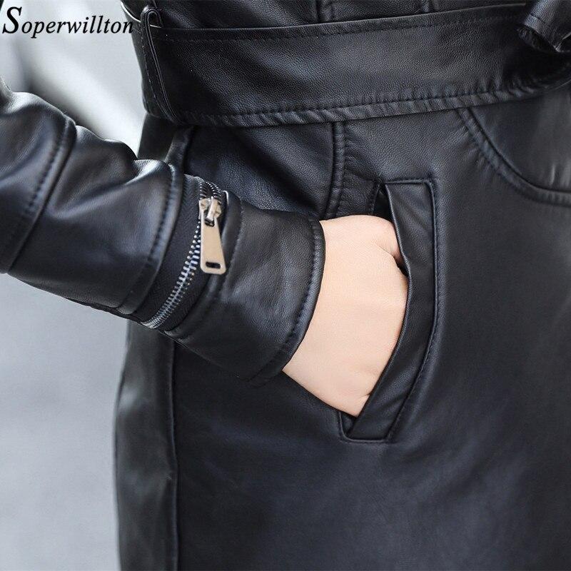 Femelle Femmes Hiver Noir Long De Cuir Veste 2018 Pr91 En Chaud Moto Black Fourrure Daim grey caremel Manteau Mode Arc Pu qqr5Y