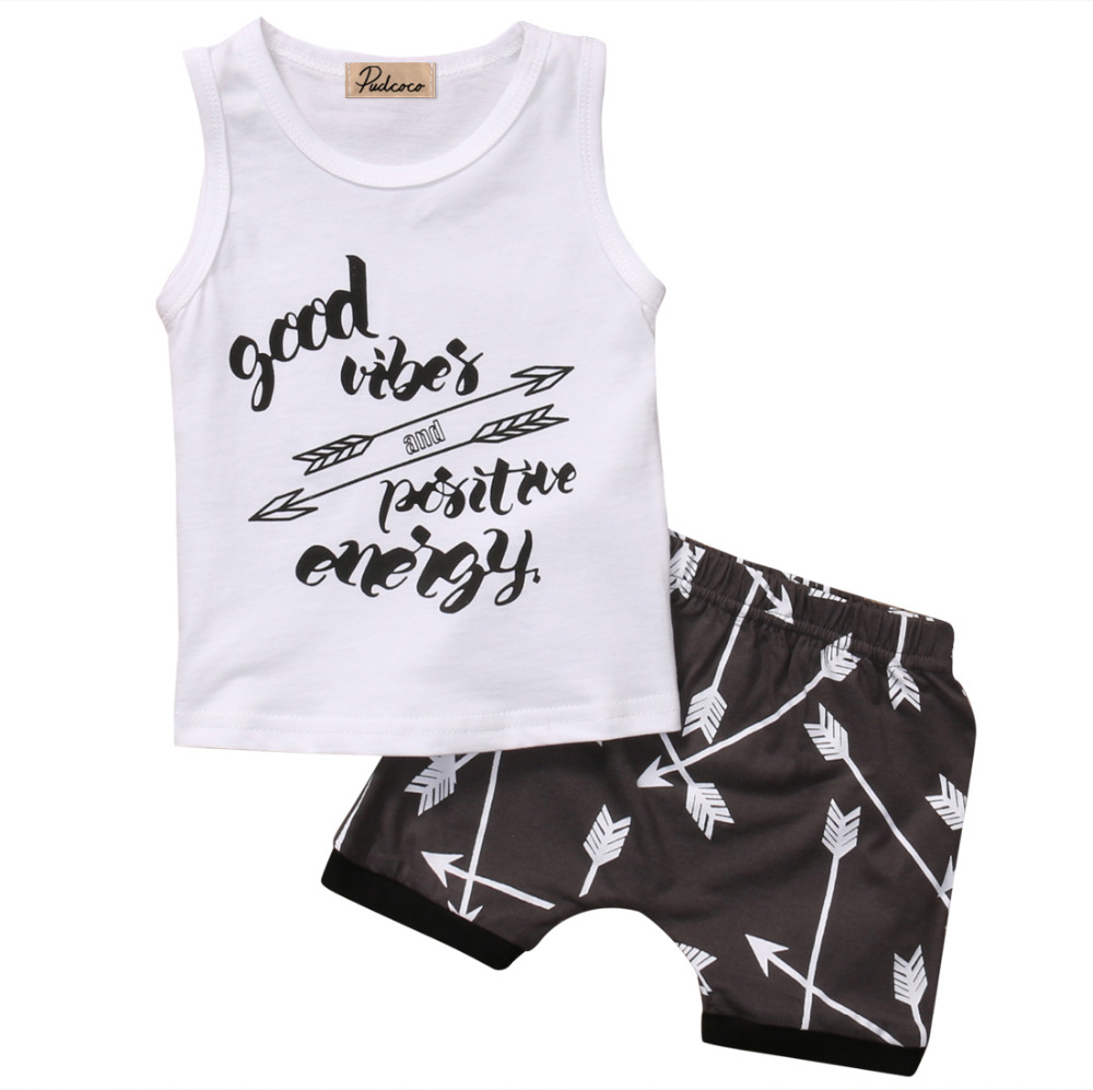 2PCS Newborn Kids Baby Boys Summer Sleeveless T-shirt Tops+Arrow Shorts Pants Outfit Clothes Set