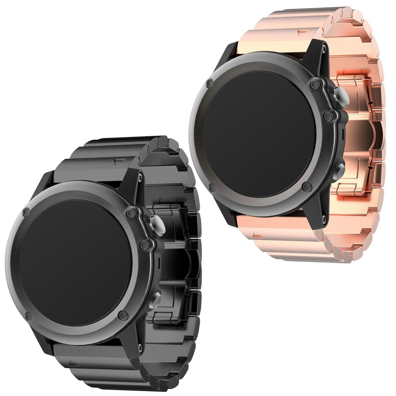imágenes para Gosear Reemplazo Reloj de Pulsera Banda de Acero Inoxidable correa de reloj de Correa Correa Cinturino Aguja T-riemen w/Doblar-sobre el Corchete para Garmin Fenix 3