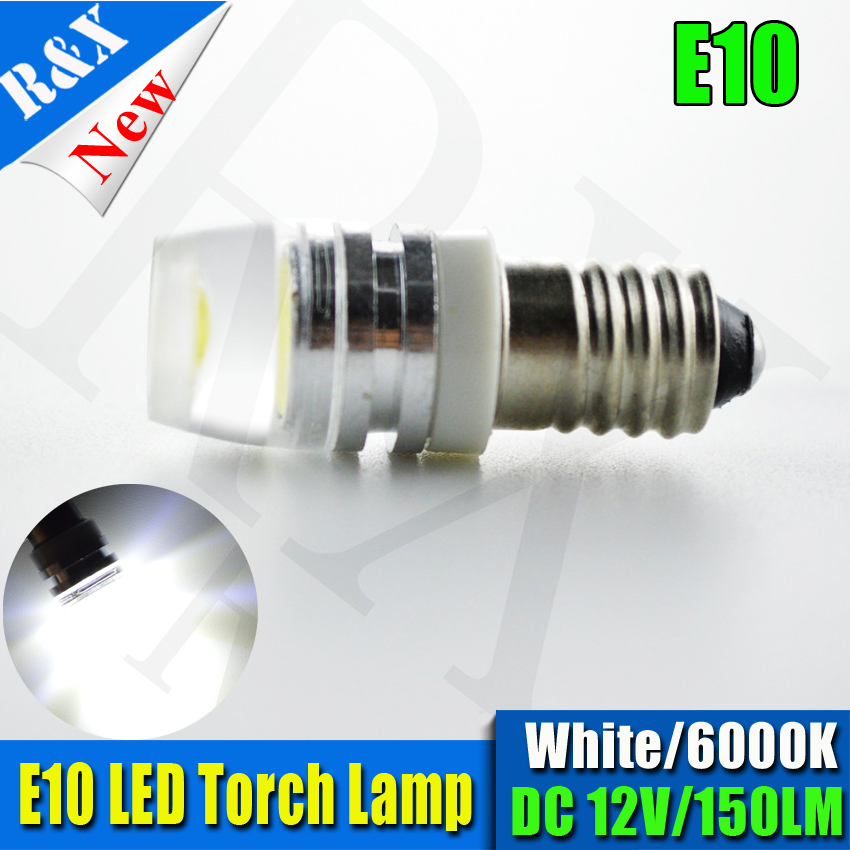 2PCS Powerful E10 Screw COB 2W LED Bulb Light Lamp Car Vehicle DIY Lighting 12V 150LM Warm White White Yellow Car Light Source in Signal Lamp from Automobiles Motorcycles