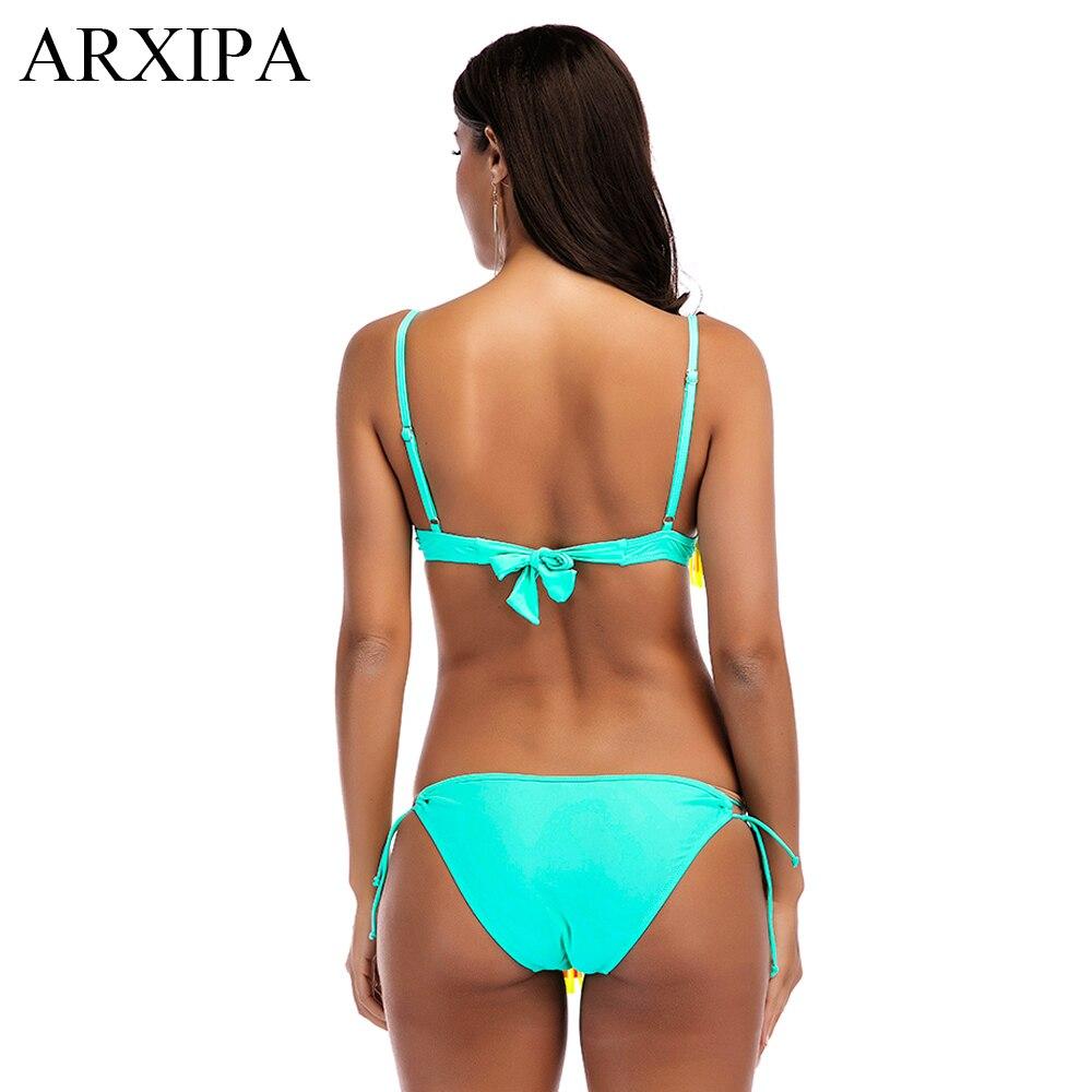 ARXIPA Rainbow Fringe Bikini Underwire Skirt Swimsuit Knot Molded Padded Swimwear Tassel Tie Bralette Bathing Suit Swimming Wear in Bikinis Set from Sports Entertainment