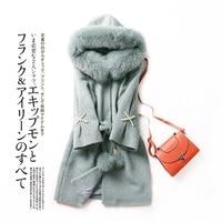 2017 winter new Women's fur coat, Fox Fur Hoodie Alpaca fur coats girls long wool fur jacket coat Free shipping LK09