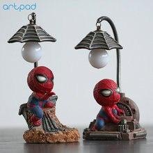 Artpad The Avengers Marvel Cartoon Figure Spiderman Night Lamp With ON/OFF Switch Resin Boy LED Kids Bedroom Light