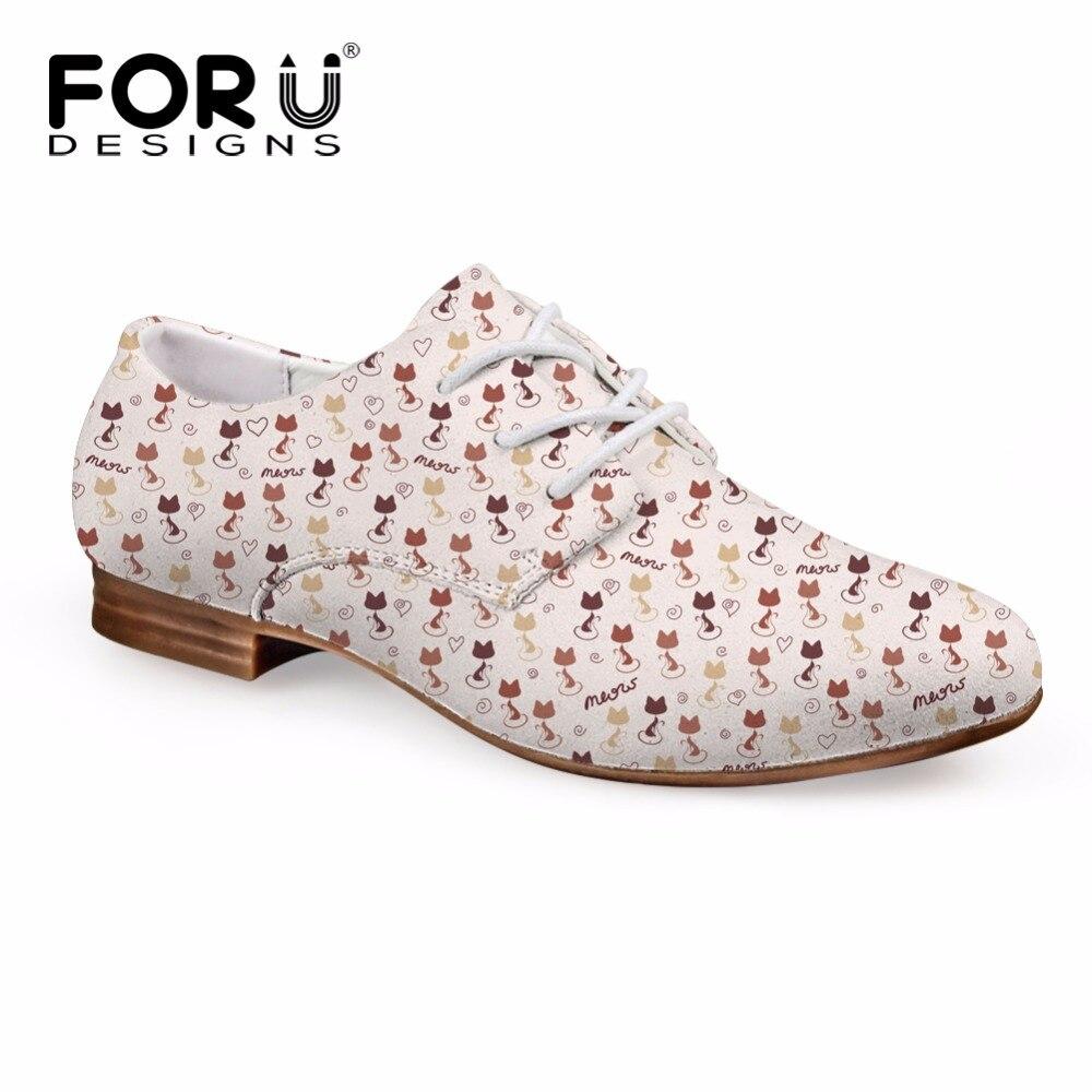 FORUDESIGNS Cute 3D Animal Cat Prints Women Fashion Leather Shoes Spring New Women's Oxfords Shoes Flats Women Oxford Dress Shoe