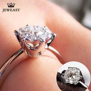 Image 5 - 18K 골드 다이아몬드 반지 여자 여자 애인 커플 선물 자연 대형 다이아몬드 클래식 여섯 발톱 1CT 2CT 캐럿 정품 웨딩 제안