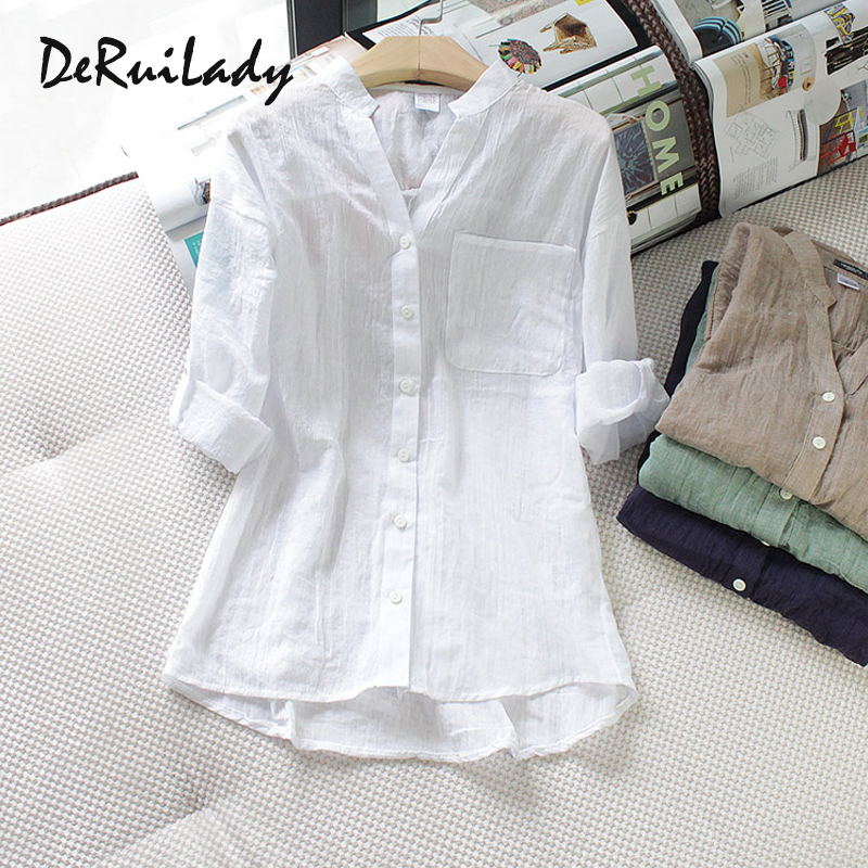 DERUILADY Casual Loose Womens Tops And Blouses Harajuku Plus Size Blouse Shirt Fashion Cotton Linen V