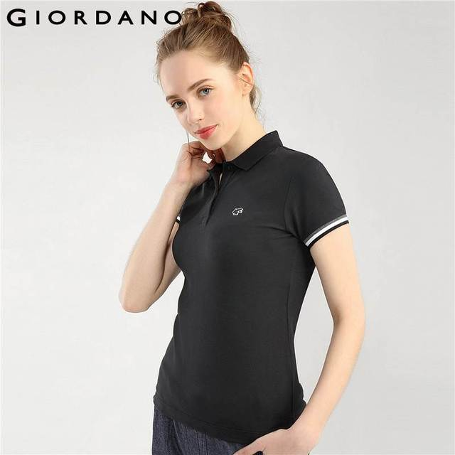63187f564cf38e Giordano Women Frog Polo Lovely Badge Polo Shirts Women Ribbed Cuffs Short  Sleeves Tops For Women