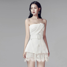2019 Spring and Summer New Sexy Women's Wear Sling Open Shoulder Waist Skinny Top Lace Suit Woman 2piece Set Women contrast lace open the shoulder top