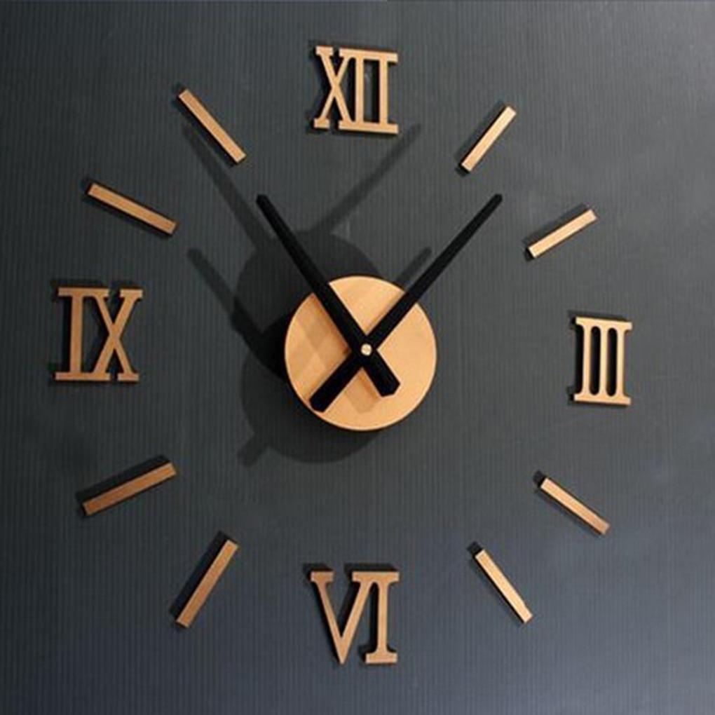 DIY Acrylic Wall Clock 3D Roman Mirror Stickers Design Home Decoration 4 Color