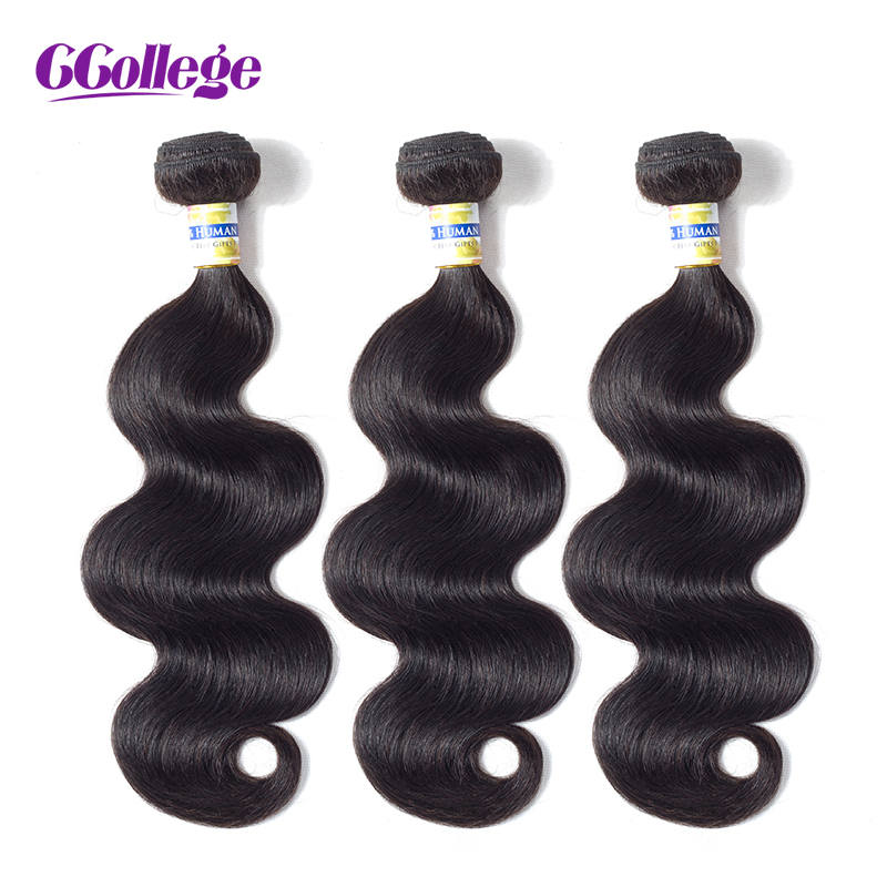 Brazilian Body Wave Hair Weave Bundles 100% Human Hair Bundles 3st / - Mänskligt hår (svart)