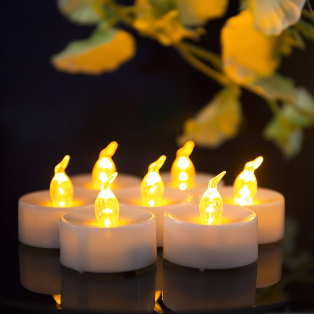 Pack of 12 Yellow Flickering White LED Light Candle Wholesale Plastic LED Straight Candle Frosted Hea Screw thread Candle Store