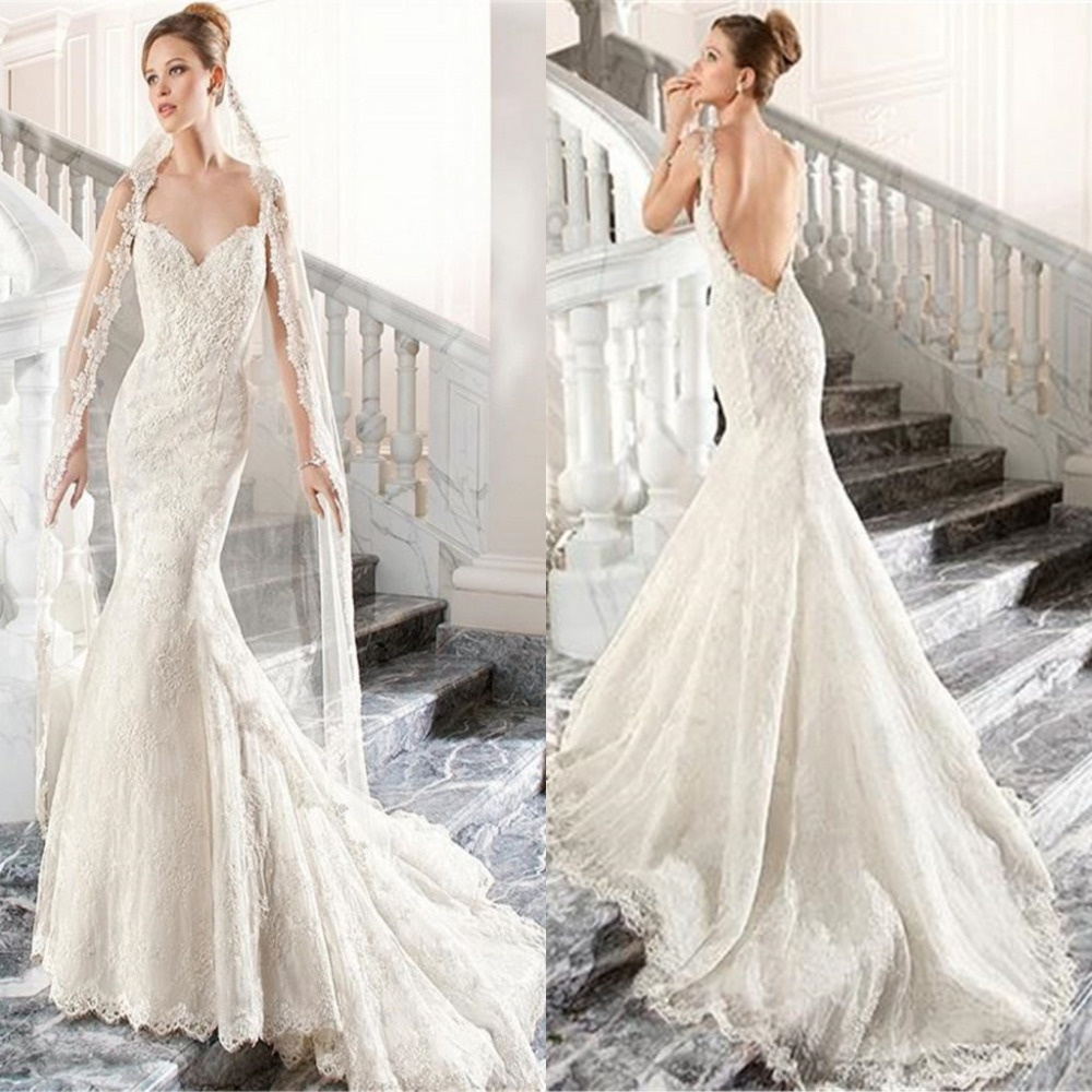 Lace Backless Mermaid Wedding Gown: 2015 Ivory Lace Applique Beads Backless Mermaid Wedding