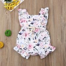 Pudcoco Summer Newborn Baby Girl Clothes Sleeveless Ruffle F