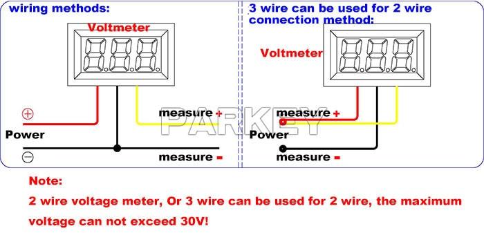 20 pcs led voltmeter green 0 36 car motorcycle voltmeter 0 100v dc rh aliexpress com 86 Blazer 24 Volt Charging System Wiring Diagram Amp Meter Wiring Diagram