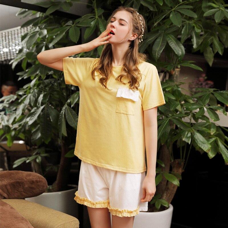 Analytisch Sommer Pyjamas Frauen 100% Baumwolle Kurzarm Shorts Süße Mädchen Der Pijama Mujer Koreanische Dünne Pyjamas Frauen Nachtwäsche Schlaf Set Pyjama-garnituren