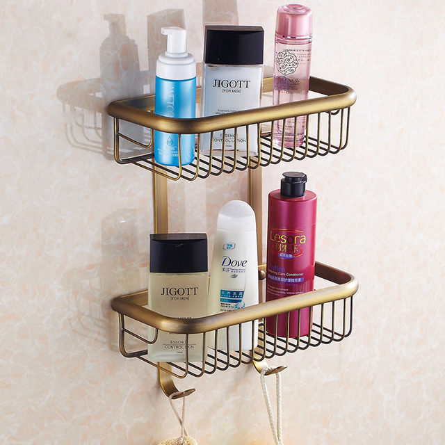 Bathroom Shelves Dual Tier Rack Chrome Br Wall Mounted Towel Washing Shower Basket Bar Shelf For Bath Hj 829
