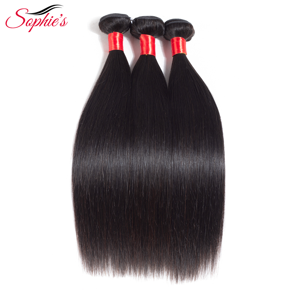 Sophies Brazilian Straight Human Hair Bundles Hair Weaves Sew In Hair Extensions Black Non-Remy Hair No Tangle Free Shipping ...