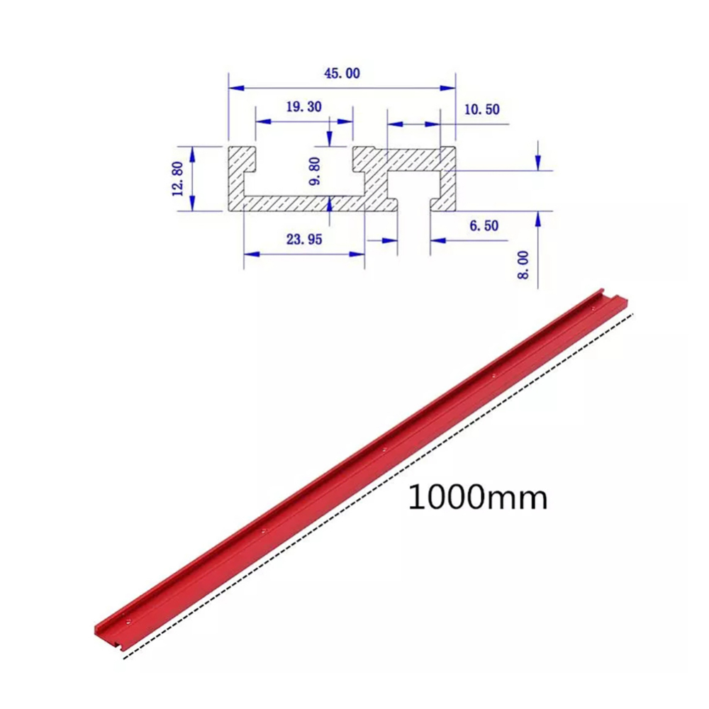 1000mm T-Slot Aluminium Profile Woodworking Workbench DIY  Height Miter Track T-track Stop Sliding Brackets Accessories