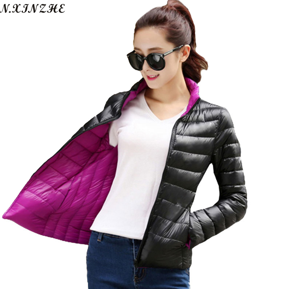 N.XINZHE Both sides to wear Coat Female Autumn Winter Down Jacket Women Padded Parkas Casual Thin and light Basic Jackets coats
