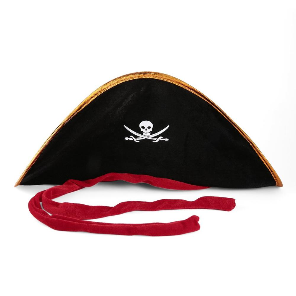 Pirate Captain Hat Skull & Crossbone Design Cap Costume Fancy Dress For Party Halloween Cosplay Polyester Hat Cap