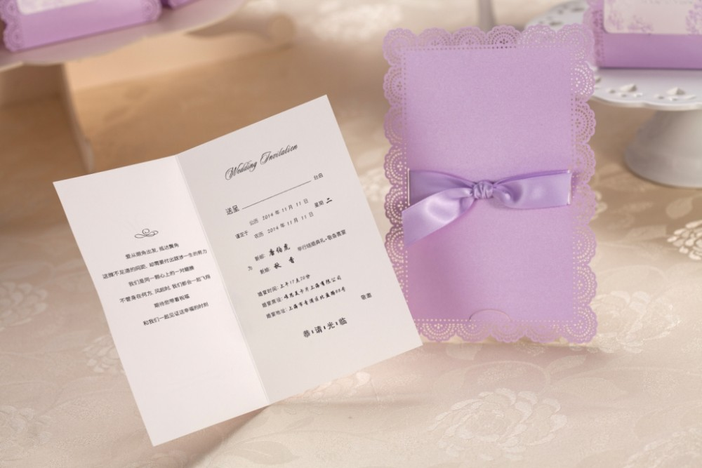50 stücke Elegante Lila Laser Geschnitten Hochzeitseinladungen