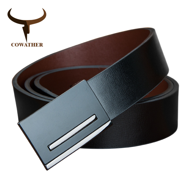 New Genuine Leather Plate Buckle Belts For Men.