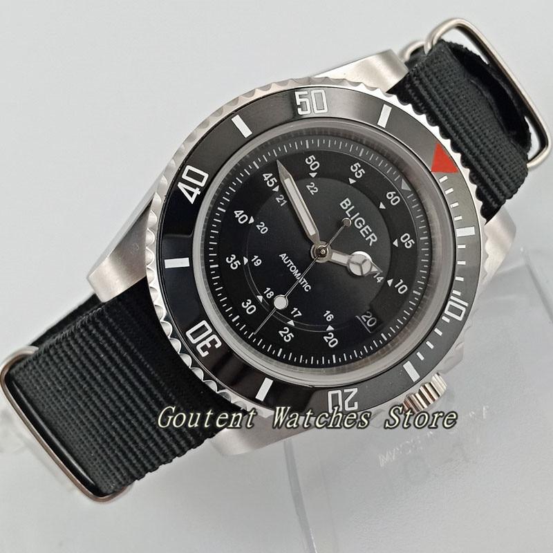 40mm Bliger Date Black Ceramic Bezel Stainless Steel Case Sapphire Glass Automatic Men's Watch