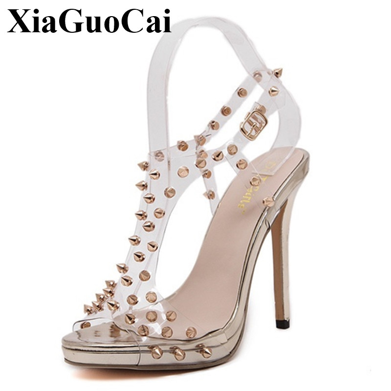 Summer Europe Style Women's Sandals Fashion Crystal Rivet Sexy High Heels Peep Toe Sandals Hollow Buckle Strap Sandals H319 35 2016 summer diamond purple peep toe high heels sandals for sale size 11 hollow female korean style sexy thick womens slippers