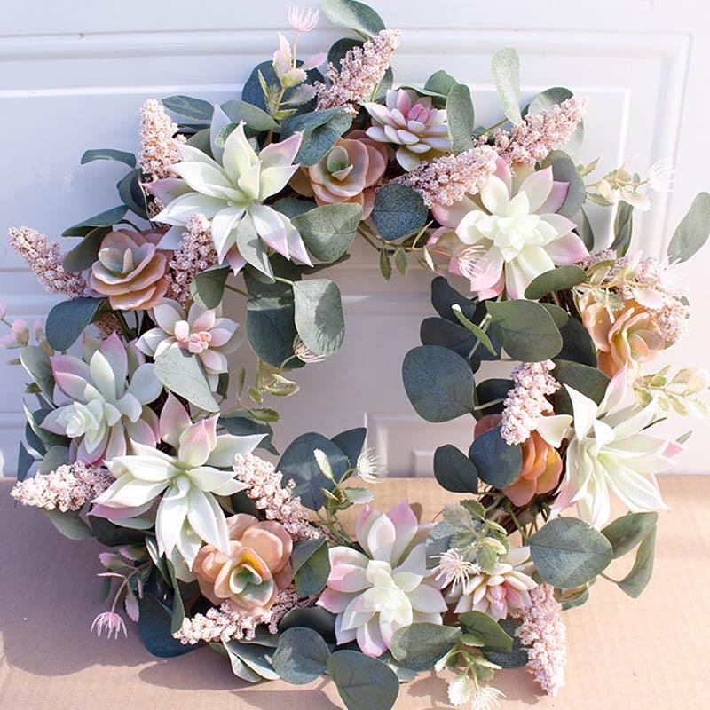 Artificial Wreath Door Trim Ornament Hanging Succulent Fake Flower Garland for Home Garden Christmas Wedding Decoration