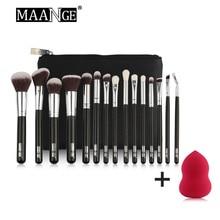 цена на MAANGE 15pcs Black Makeup Brushes Set Pincel Maquiagem Powder Puff Eye Kabuki Brush Kit Cosmetics Beauty Tools with Leather Case